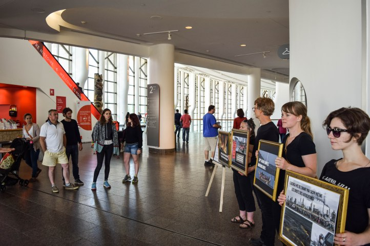 Activists hold unsanctioned exhibit at the Museum of History putting Big Oil on display